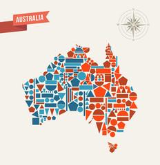 Australia geometric figures map illustration