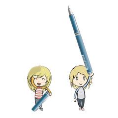 Girls holding blue pen. Vector design.