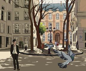 Poster Illustration Paris Furstemberg square in paris