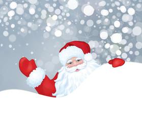Vector of Santa Claus hiding by blank isolated on snowfall backg