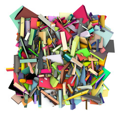 3d abstract shape fragmented in rainbow color backdrop