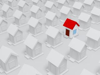 3d painted house between unpainted