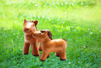 午年(馬)正月干支クラフト手作り人形 草原の親子馬