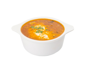 soup with sour cream isolated