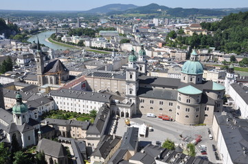 View over the town of Salzburg, Austria