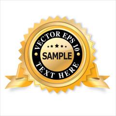 empty golden star  label ribbon