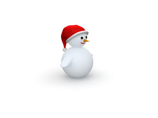 snowman with Santa Claus hat isolated on white background