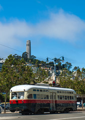 Coit Tower and Trolley in San Francisco California USA