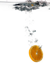 Healthy Water with Orange Slice. Drops