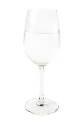 single wine glass and water on white background
