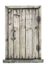 Wooden door isolated on a white background.