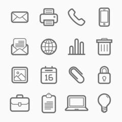 office elements symbol line icon set