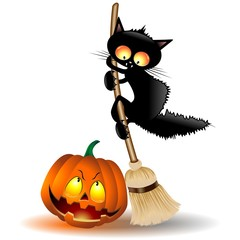 Halloween Cat Cartoon and Pumpkin-Gatto Buffo con Zucca