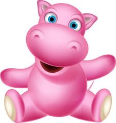 cute baby hippo cartoon posing