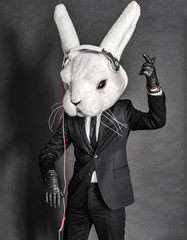 Rabbit Dj  in balck suit on dark background