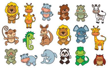 set funny cartoon animals