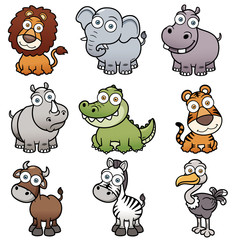 Vector illustration of wild animals cartoons
