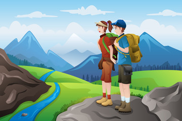 Backpackers on top mountains