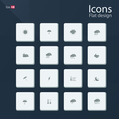 Flat icon set for Weather concepts