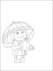contour of little girl with big umbrella on isolated white