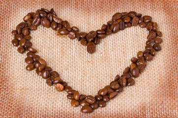 Coffee beans. Heart of coffee beans