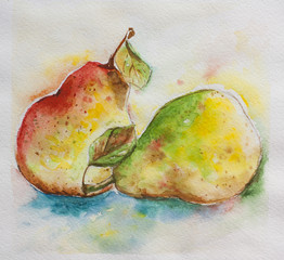 pair of paers brisk vivid watercolor