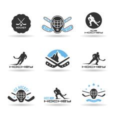 Set of ice hockey icons.