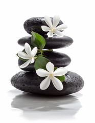 Wall Mural - tiare flowers and tower black stone spa