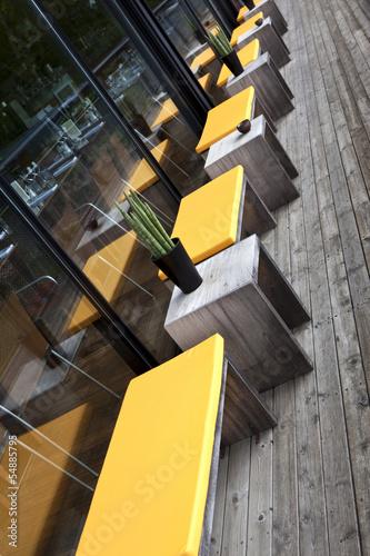 Terrasse, restaurant, patio, salon de jardin, bois, mobilier\