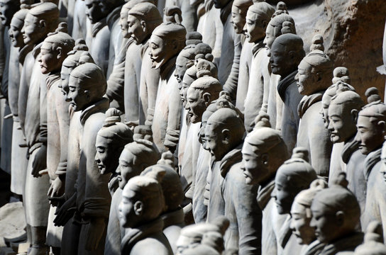 Terracotta Army inside the Qin Shi Huang Mausoleum in Xian,China
