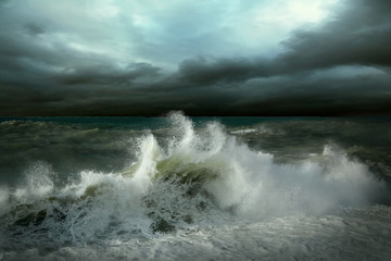 Photo sur cadre textile Tempete View of storm seascape