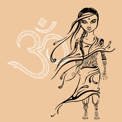 little indian girl. Hand drawn illustration.