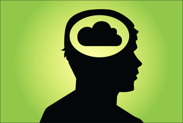 Cloud in man's head. Cocept vector on green background