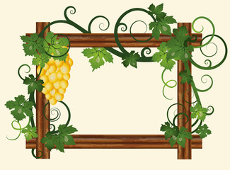 Wood frame with grape, vector illustration