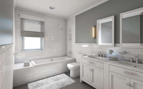 White Bathroom in Country House