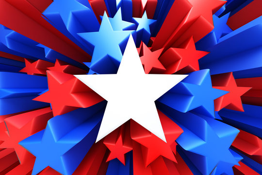 Red, white and blue stars
