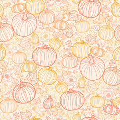 Vector Thanksgiving line art pumkins seamless pattern background