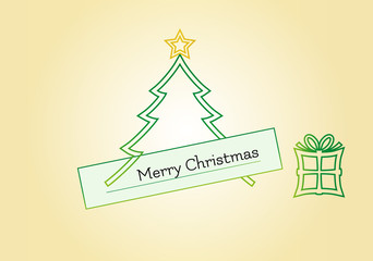 Christmas card with tree, star and gift