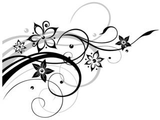 Filigrane Ranke mit Blumen und Schnörkeln.