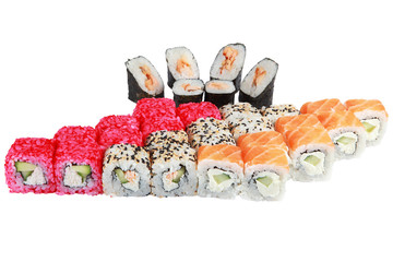 Japanese cuisine from rice and seafood, set of 4 rolls, Philadel