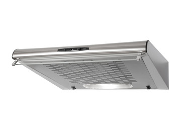 Modern INOX cooker hood isolated on white with clipping path