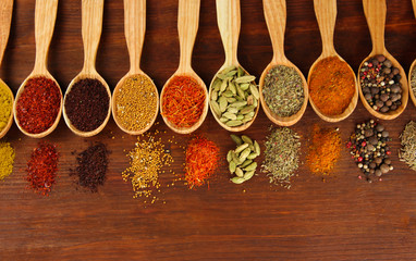 Canvas Prints Herbs 2 Assortment of spices in wooden spoons on wooden background