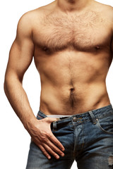 Young shirtless muscular man
