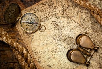 Wall Mural - old compass on vintage map 1746