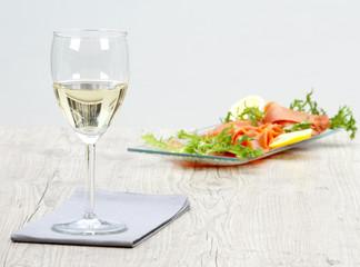 wine and smoked salmon
