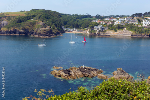 Fototapete Yachts at River Fowey entrance Cornwall from Polruan England