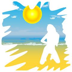girl on the beach cartoon vector illustration