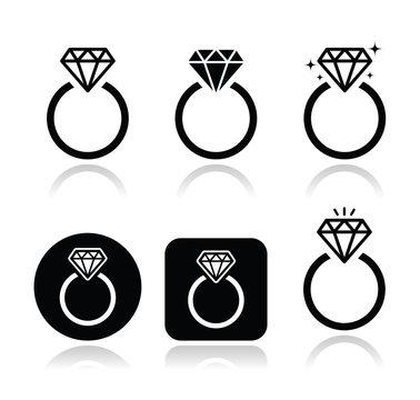Diamond engagement ring vector icon
