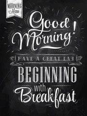 Poster Good morning! breakfast chalk