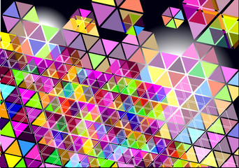 Poster ZigZag abstract vector background with colorful shapes